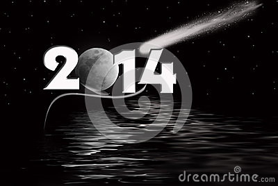 2014 New Year with moon