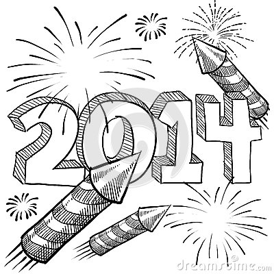 2014 New Year s fireworks vector