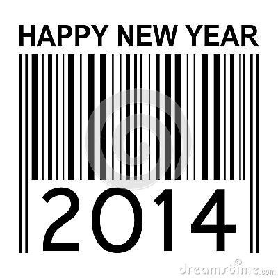 2014 new years illustration with barcode