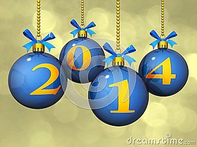2014 nowy rok ornamenty Bokeh