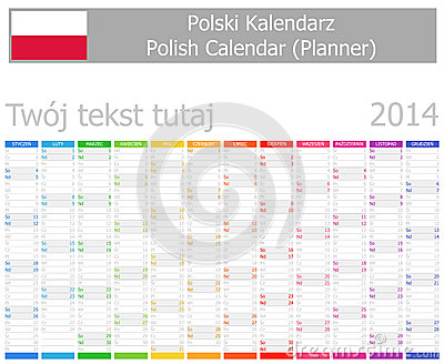 2014 Polish Planner Calendar with Vertical Months