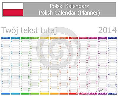 2014 Polish Planner Calendar with Vertical Months