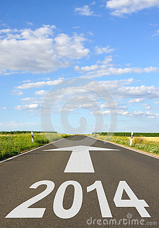 Free 2014 Sign On Road Royalty Free Stock Photography - 33479897