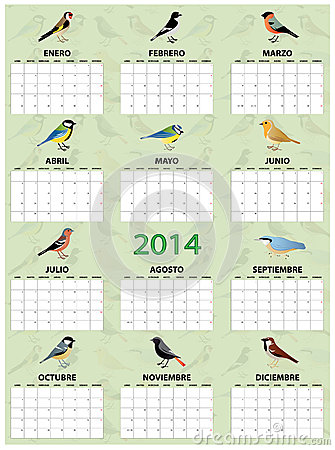 Free 2014 Spanish Calendar Royalty Free Stock Photography - 36368587