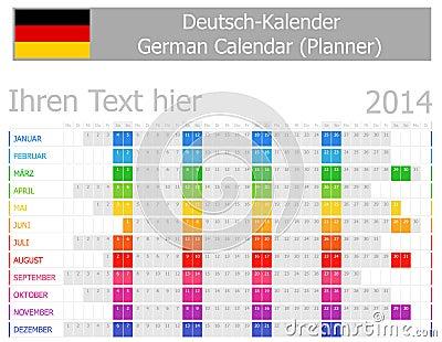 2014 tyska Plannerkalender med horisontalmånader