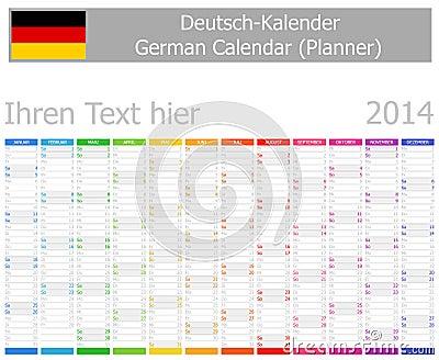 2014 tyska Plannerkalender med lodlinjemånader