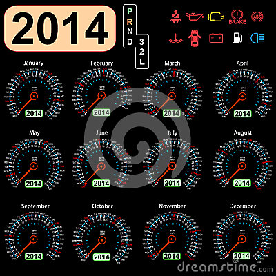 2014 year calendar speedometer car