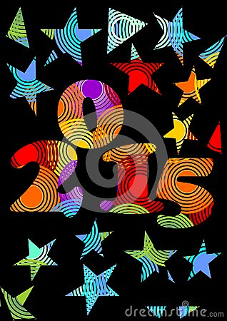 Free 2015 New Year Crazy  Background In Rainbow Colors With Stars Stock Photo - 47259550