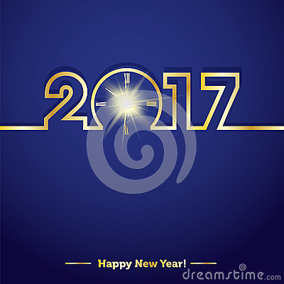 Free 2017 Happy New Year With Creative Midnight Clock Royalty Free Stock Image - 59018006