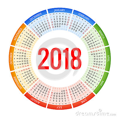 Free 2018 Circle Calendar. Print Template. Week Starts Sunday. Portrait Orientation. Set Of 12 Months. Planner For 2018 Year. Royalty Free Stock Photos - 89388628