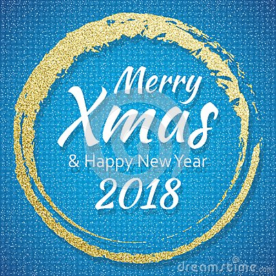 free 2018 gold and blue card with merry christmas text and glitter frame sparkling