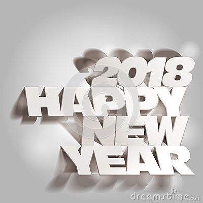 Free 2018 Gray Tone Paper Folding With Lette, Happy New Year Stock Photos - 76779063