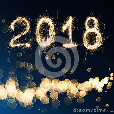 Free 2018 Written With Sparkle Firework On Black Background , 2018 Ha Stock Photography - 100320832