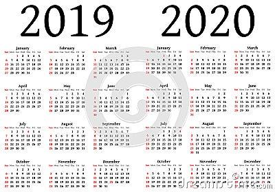 日历在2019年和2020年 使用将设计师.图片