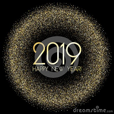 Free 2019 Happy New Year Card With Gold Confetti. Royalty Free Stock Photo - 133805055
