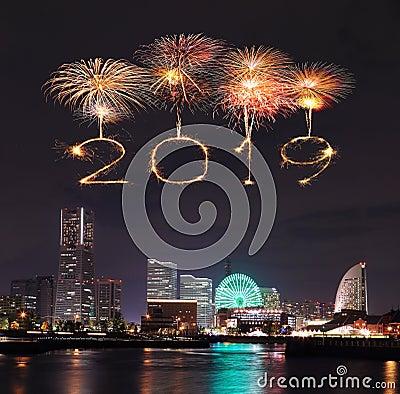 Free 2019 Happy New Year Firework Sparkle With Yokohama At Night, Royalty Free Stock Photos - 128467928