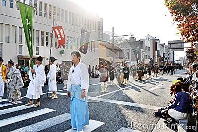 КИОТО - 22-ОЕ ОКТЯБРЯ: Jidai Matsuri Редакционное Стоковое Изображение