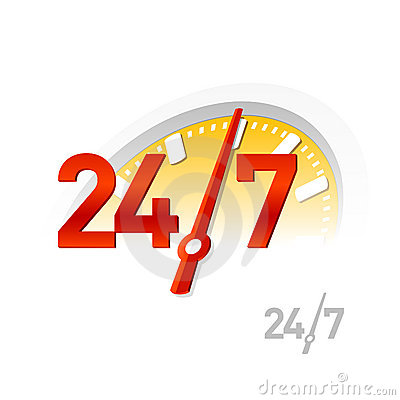 24/7 teken. Vector.
