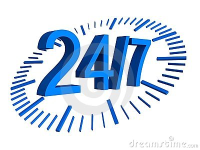 24/7 work concept blue numbers