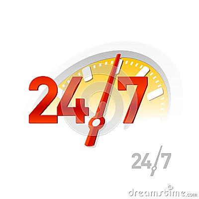 24/7 Zeichen. Vektor.