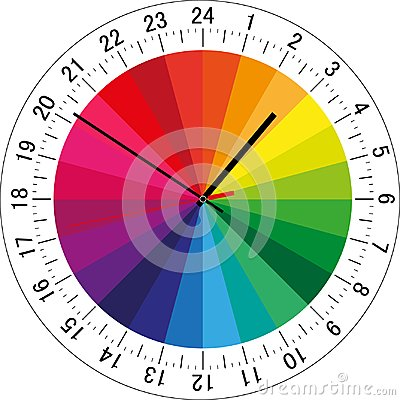 Free 24 Hours Clock Dial With Color Sectors For Each Hour For Highlighting. Vector Illustration Royalty Free Stock Photos - 122847478