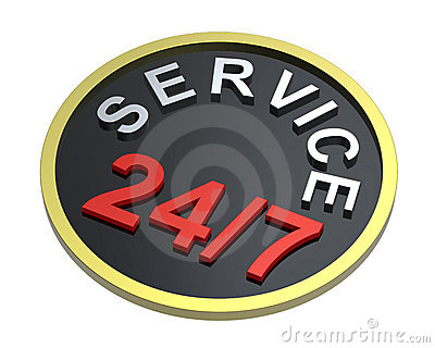 24 hours seven days a week service sign over white