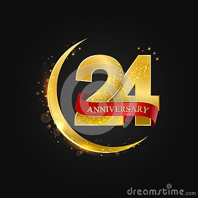Free 24 Years Anniversary.Pattern With Arabic Golden, Gold Half Moon And Glitter. Royalty Free Stock Image - 124310826