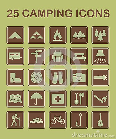 Free 25 Camping Icons Royalty Free Stock Photography - 25117957