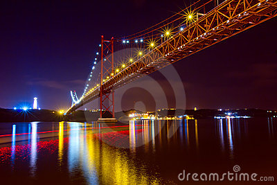 The 25 De Abril Bridge in Lisbon