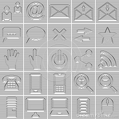 25 Isolated Internet and Communication icons set