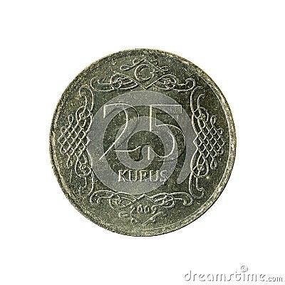 Free 25 Turkish Kurus Coin 2009 Obverse Stock Image - 122976861