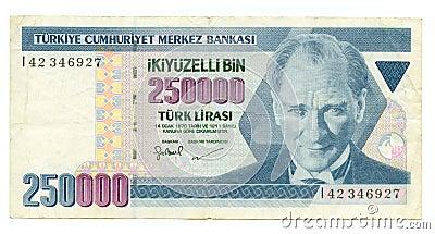 250000 lire bill of Turkey