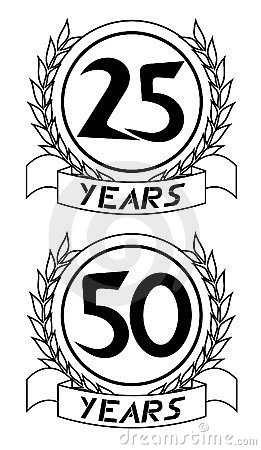 25th and 50th anniversary icons