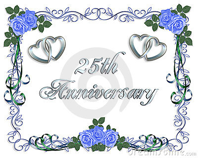 25th Wedding Anniversary Border Invitation