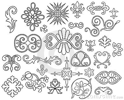 27 stylized outlined motifs