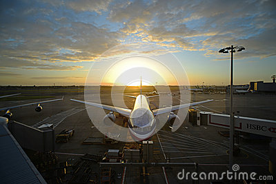 28 June 2012 - Updated American Airline at Dawn Editorial Stock Image