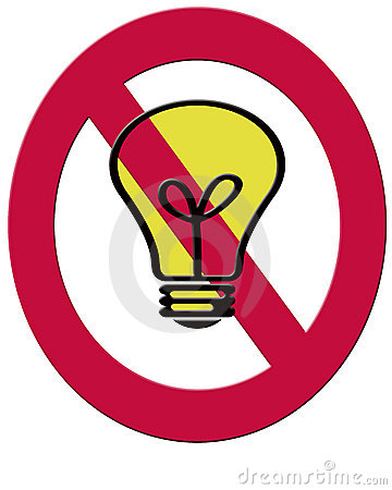 A 2D illustration of a filament lightbulb and a red ban symbol t