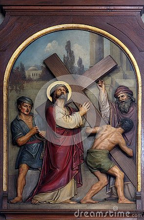 Free 2nd Stations Of The Cross, Jesus Is Given His Cross Stock Photo - 132002080