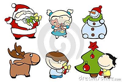 3个圣诞节滑稽的孩子