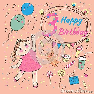 小女孩的生日3年。库存或关注免版税贺卡男生女生着邀请总是图片图片