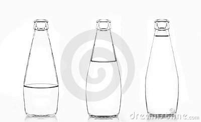 3 bottles of water isolated on white background