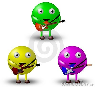 3 Cartoon Characters With Guitars -1/2