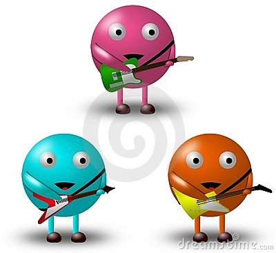 3 Cartoon Characters With Guitars -2/2