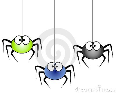 ... of 3 cartoonish looking spiders hanging isolated on white background