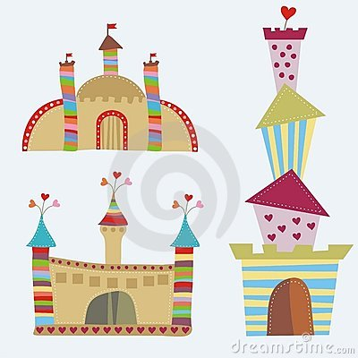 3 colorful cartoon castles