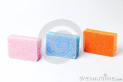 3 colors of 3 sponges