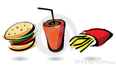 3 colourful fast food icons