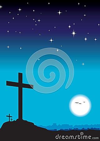 3 crosses at night