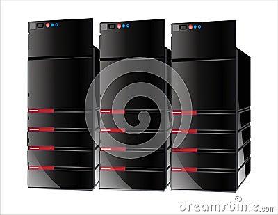 3 czerwonego serwera komputerowego