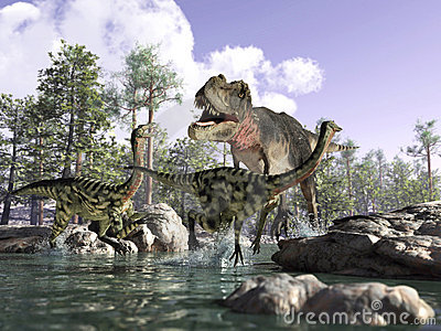 3 D scene of a T Rex, hunting two Gallimimus.